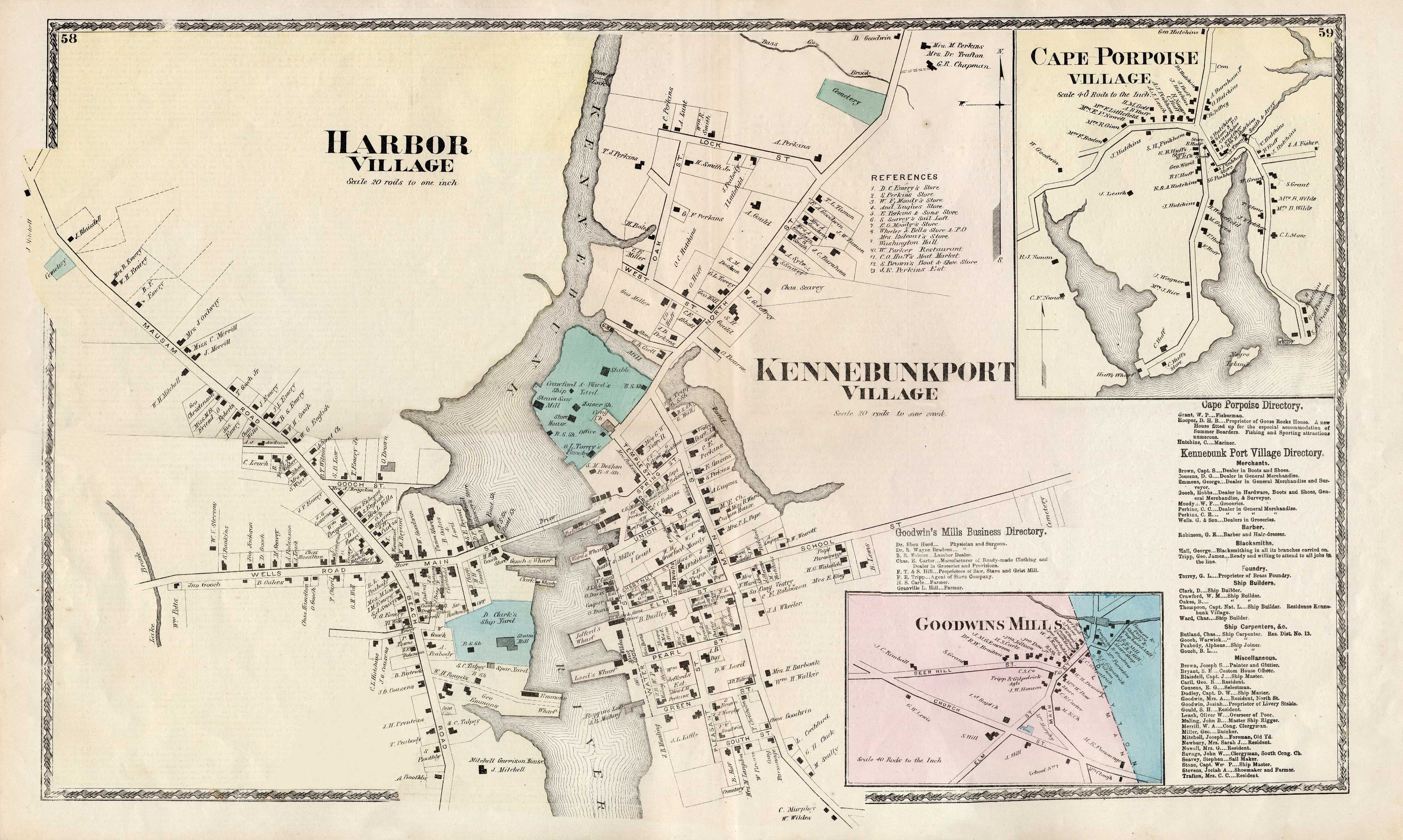 1872 atlas map of Kennebunkport Village, Lower Village, Cape Po on new gloucester me map, union me map, thomaston me map, south berwick me map, fryeburg me map, cornville me map, houlton me map, lubec me map, phippsburg me map, waterford me map, raymond me map, pemaquid me map, saco me map, livermore falls me map, vassalboro me map, skowhegan me map, waterboro me map, portsmouth me map, fort fairfield me map, oxford me map,